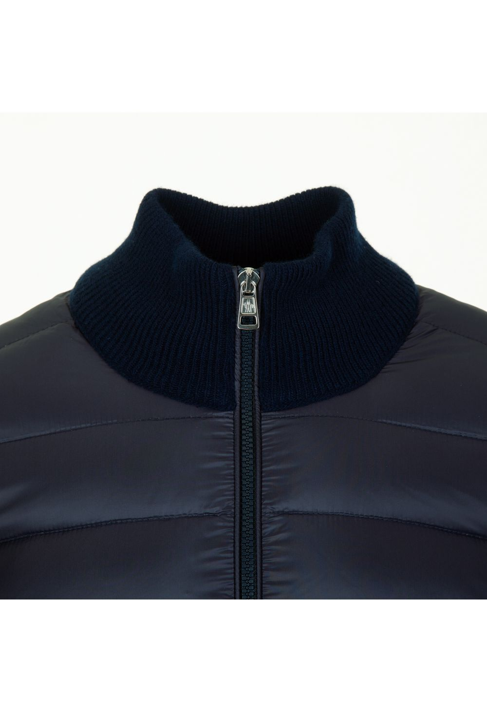 Moncler Tri-Cot Web Quilted Nylon Front Zip Up Knitwear